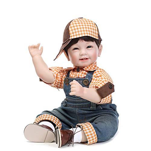 LOVELY'S DOLL Wiedergeboren Babypuppen 22 Zoll 55 cm Weich Silikon Vinyl Echte Berührung Perücke Haar Bezaubernd Lebensecht Neugeborenes Puppe für Jungen Geburtstag, Festivalgeschenke