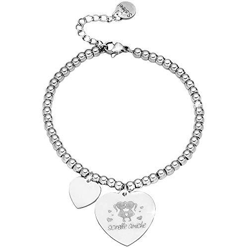 Beloved ❤️ bracciale da donna, braccialetto in acciaio emozionale - frasi, pensieri, parole con charms - ciondolo pendente - misura regolabile - incisione - argento - tema famiglia (mf14)