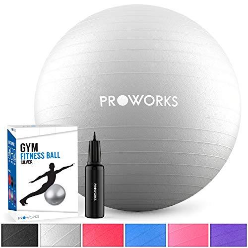 Proworks Gymnastikball 65cm Heavy Duty Sitzball für Sport Physiotherapie Schwangerschaft Yoga Pilates - Fitness Ball für Rückenübungen und Dehnübungen inkl. Pumpe - Silber