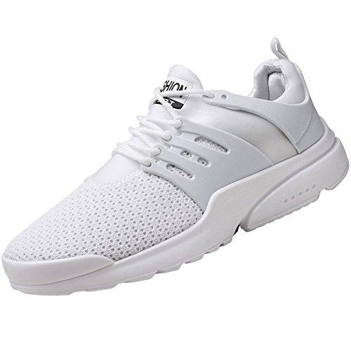 JiaMeng Scarpe Running estive Uomo, Scarpe Uomo Sneakers, Scarpe da Ginnastica Uomo, Scarpe da Corsa Uomo Sportive, Scarpe da Lavoro Uomo - Uomo, Scarpe Casual Estate Piatte (Bianco,EU 42.5)