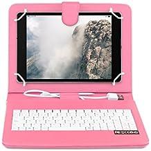 OME- Funda tablet con teclado para Samsung Galaxy S2 8 pulgadas modelo T710/T715/T719 con OTG y MicroUsb-Rosa