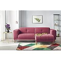 Bobochic LUNA Canapé de 3 places avec Pouf Tissu Rouge 225 x 93 x 77 cm