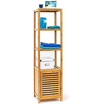 Relaxdays Badregal Bambus Mit 5 Ablageflächen HxBxT 140x36,5x33 Cm  Praktisches Holzregal Mit Mehreren Ebenen Und Schrankteil Mit Magnetischem  Verschluss Mit ...