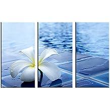 MOXO blanco pequeño flores pared solitaria azul cuadros en lienzo impresiones de arte 3paneles Arte Set en marcos para dormitorio sala de estar