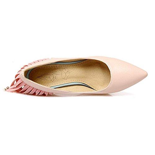 TAOFFEN Damen Western Stiletto Schlupfschuhe Pointed Toe Pumps Mit Quasten Pink