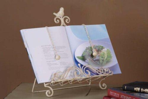 Creative DE1255–Co-Op Support pour livre de cuisine avec oiseau en métal 15 cm-Crème Par Creative Co-Op