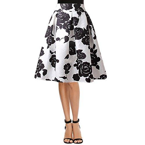 Sherry Skirts Damen Plissierter Vintage Rock Floral Print A-Linie Midirock - Schwarz - Groß - Floral Print Bubble