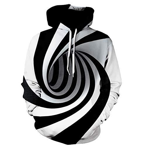SHE.White Unisex 3D Hoodie Herren Damen Kapuzenpullover Freizeit Langarm Drawstring Pullover Große Größen Sweatshirt mit Tasche M-5XL -