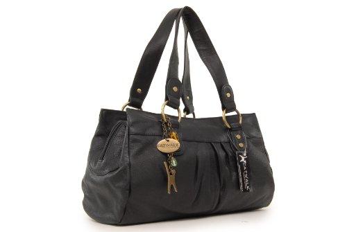 """Lederhandtasche """"Bella"""" von Catwalk Collection - GRÖßE: B: 33-38 H: 22 T: 10 cm Schwarz"""