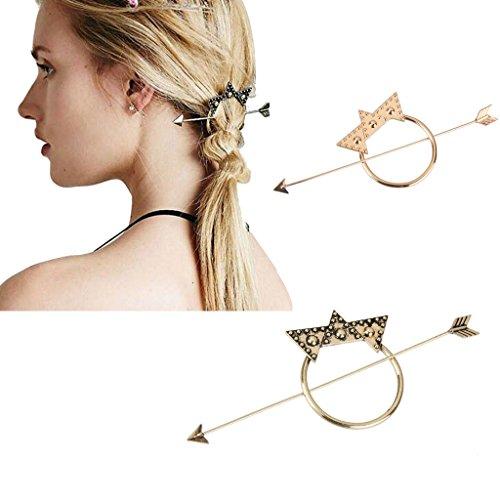 Boucle Clip Epingle à Cheveux Boho Vintage Etoile Flèche Accessoire à Chignon - Or