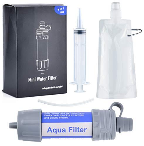 Aqua Filters Tragbares Mini-Wasserfiltersystem für Wandern/Camping/Outdoor - Lifestraw Wasserfilter Tragbare