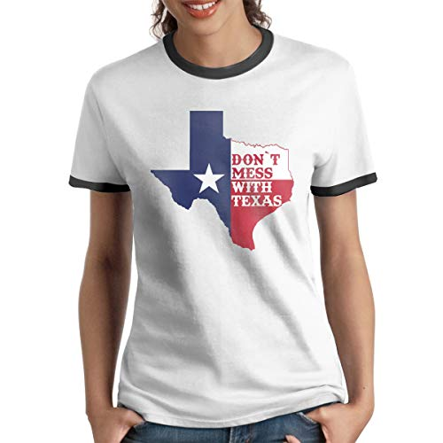 Queen Elena T-Shirt Dont-Mess-with-Texas, kontrastfarbenes Baumwoll-T-Shirt mit kurzen Ärmeln Gr. M, Schwarz -