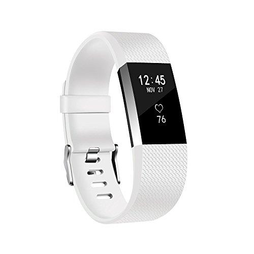 """8' Das Weiße Band (Fitbit Charge 2 Armbinde - TPU Silikon Uhrenarmband Mailänder Schleife Einstellbare Ersatz Armband Weiß Klein 8"""")"""