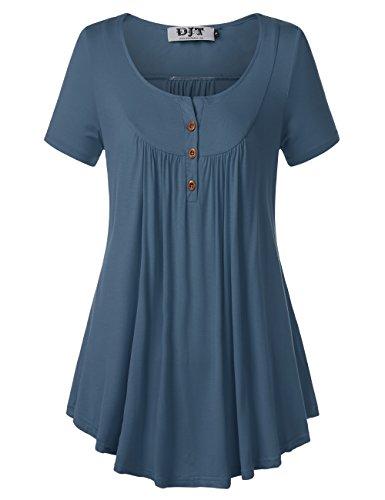 DJT Damen T-Shirt Kurzarmshirt Plissee Front Tunika Tops Locker Sommershirts mit Knöpfe Blau 2XL