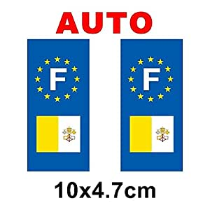 Autocollant plaque immatriculation drapeau vatican Auto