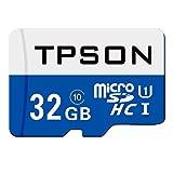 TPSON 32GB Micro SD Karte, Micro SDHC Speicherkarte Class 10 UHS-1 für Smartphone, Tablet und Kamera mit SD Adapter (32GB, Blau)