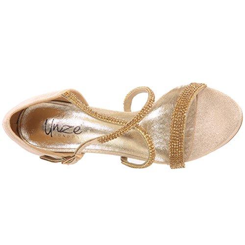 Unze Femmes nouvelles 'Ashley' Metallic Diamante embellie Strappy Peep Toe Mid Soirée talon haut, mariage, Prom Party Chaussures Tailles 3-8 Or