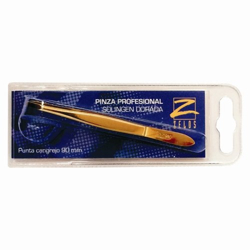 Pinzette für Augenbrauen–Pinzette–Spitze Gold 90mm Solingen Krabbe–Zelos