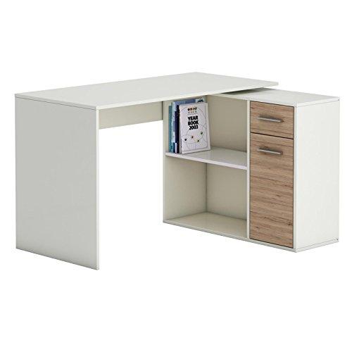 Eckschreibtisch LENA Schreibtisch Computertisch in Sonoma Eiche / weiß, mit Regal, 120 x 75 x 91,5 cm