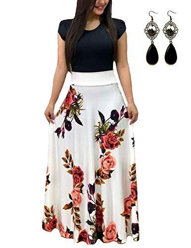 PIPIHU Sommerkleid Damen Lang mit Blüte Drucken Lang High Waist Elastische Strandkleider Maxikleider (5XL, Weiß)