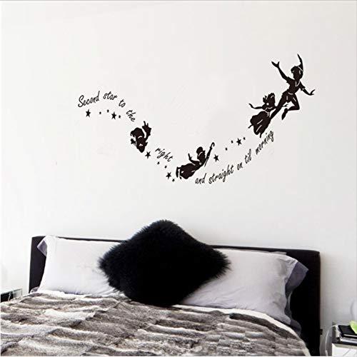 Seconda stella sulla destra adesivi murali fata lettere camera da letto decorazione della parete arte diy nero rimovibile in vinile tatuaggi