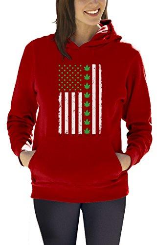 Green-day-bedruckte T-shirts (Green Turtle T-Shirts Präsentidee US Flagge mit Hanfblatt Motiv Damen Kapuzenpullover Hoodie Medium Rot)
