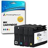 Printing Pleasure 4 Tintenpatronen kompatibel zu HP 932XL HP 933XL für HP Officejet 6100 6600 6700 7110 7600 7610 7612 - Schwarz/Cyan/Magenta/Gelb, hohe Kapazität