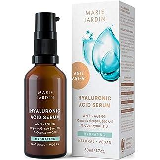 Serum de ácido hialurónico – BIO Serum facial con vitamina C y Q10 – Efecto antiarrugas, para el contorno de ojos, base para el maquillaje – 50ml – de Marie Jardin