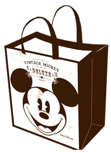 (Black and White) - Disney Vintage Mickey Mouse Tote Bag -Large Woven Reusable Tote (35.6cm x40.6cm x17.8cm ) (Disney Walt Travel)