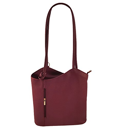 2 in 1 Handtasche Rucksack Designer Luxus Henkeltasche aus Echtleder in versch. Designs (Glattleder (Billig Handtaschen Designer)