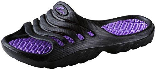 Pro Touch Kinder Badesandale Pamplona Badeschlappen Badelatschen , Schuhgröße:28;Farbe:Schwarz/Lila