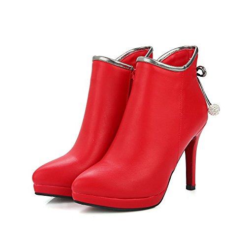 VogueZone009 Damen Niedrig-Spitze Rein Ziehen Auf Hoher Absatz Stiefel mit Schleife Rot