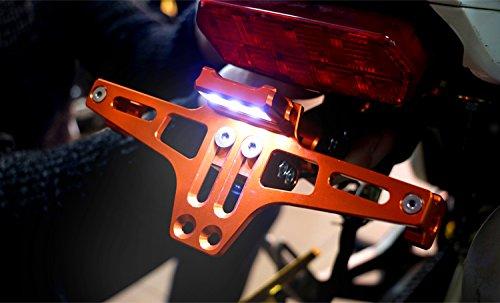 Keenso accessori moto universale regolabile Fender Eliminator staffa porta targa telaio coda in alluminio con luce a LED per Yamaha R1//R3/mt-09//07/Kawasaki Z800//1000