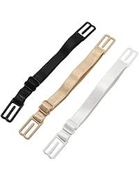 SelfTek 3Pcs No-slip Bra Strap Adjustable Elastic Holder Black White and Nude