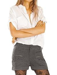 Bestyledberlin Damen Shorts, Kurze Hosen mit Gürtel, elegante Chino Hotpants Wolle j28f