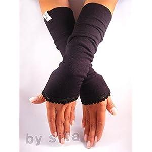 Armstulpen, lang – schwarz mit elastischer Borte