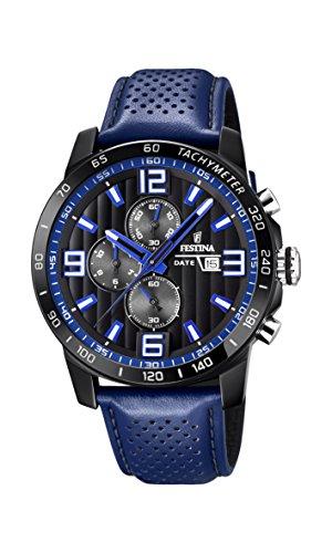 Festina Unisex Erwachsene Chronograph Quarz Uhr mit Leder Armband F20339/4 - Uhren Festina