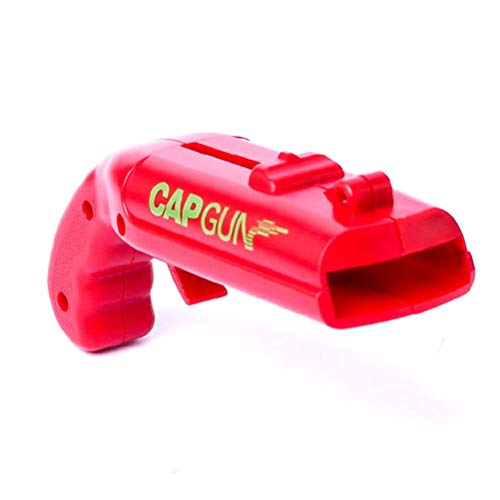 Comtervi Abrebotellas de Cerveza, sacacorchos de Vino, Cap Gun abrebotellas Original Cap Lanzador Disparo, Divertido abrebotellas de Cerveza para Bar-Party-Trinkspiel, Rojo