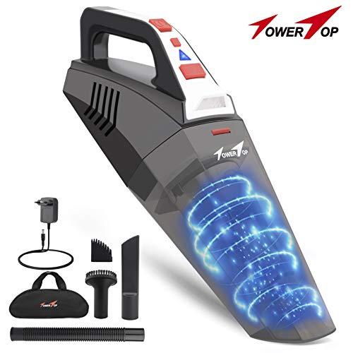 Towertop aspirabriciole senza fili, 100w/5500pa aspirapolvere a mano potente, aspirapolvere portatili con filtro in acciaio inox e luce led per casa, auto, secco/umido
