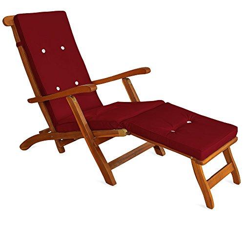 Detex Auflage für Liege Deckchair Liegestuhl Liegenauflage Sonnenliege Polster Farbauswahl ✓ Leinenoptik ✓ mit 8 Knöpfen ✓ Rot