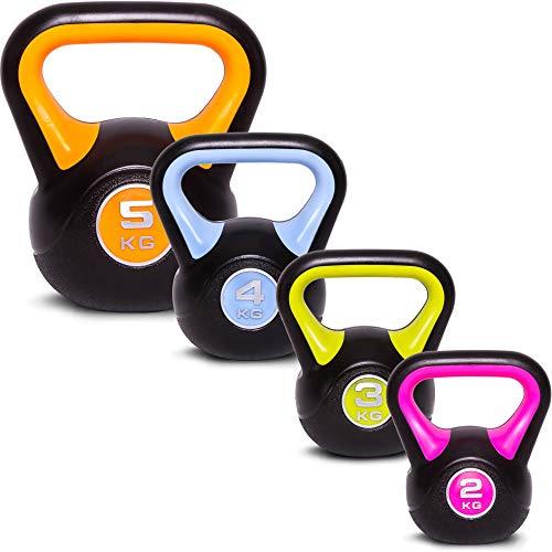 C.P.Sports Kettlebell Kugelhantel Vinyl Handgewicht Gymnastik, Kettle Bell, Kettlebells, Schwunghantel 2kg 3kg 4kg 5kg 6kg 8kg 10kg 12kg 14kg 16kg 18kg 20kg (Set-2+3+4+5 KG)
