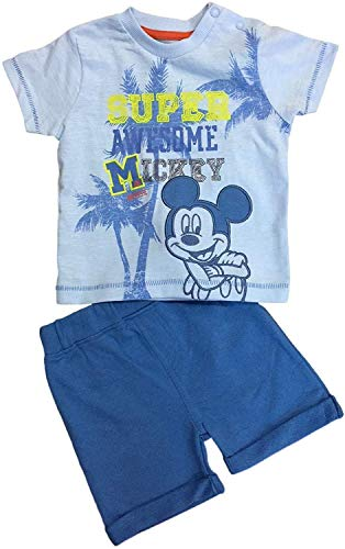 Baby Jungen Disney Mickey Maus 2pc Shorts T-Shirt Kostüm - Blau, 0-3 Monate