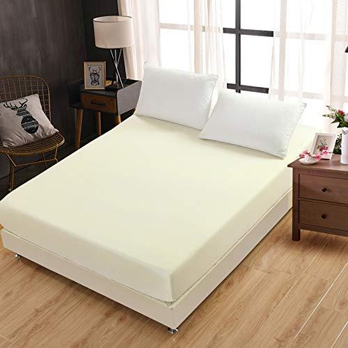 Baumwolle Terry Matratzenbezug 100% wasserdicht Matratzenschoner Bett Bug Proof Staubmilbe Matratze Pad,Einfarbige Hotelschutzhülle beige 180 * 200cm einzeln