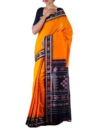 Unnati Silks Women Orange-Black Pure Handloom Sambalpuri Cotton Ikat Saree(UNM22015)