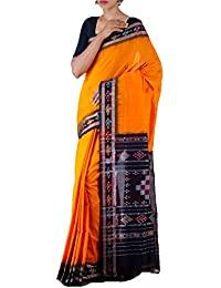 Unnati Silks Women Orange-Black Pure Handloom Sambalpuri Cotton Ikat Saree(UNM22015)