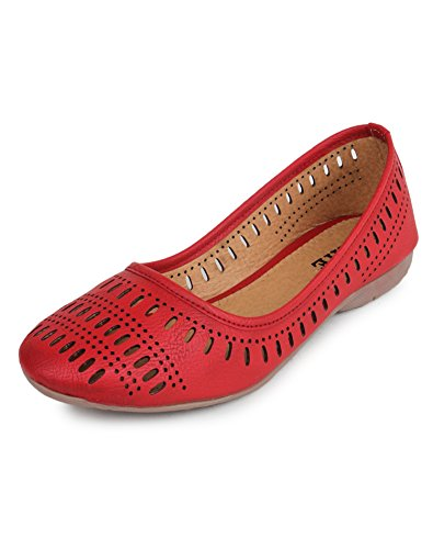 YAHE Women's Casual Faux Leather Belly Shoes Red Colour [ Y-5532-RED-38 ]