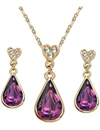 [Vintage Jewellery]Yoursfs Delicate Red Water-Drop Pendent Necklace and Earrings G90Wotq