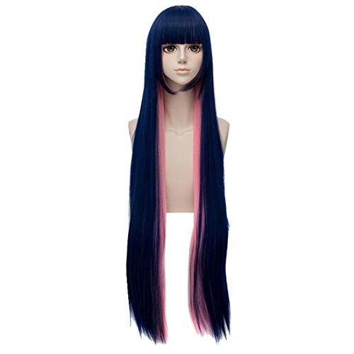 QIYUN.Z Anarchie Stockage Stockage a Long Costume Bleu Anime Cosplay Rouge De Chaleur De Cheveux De Fibre Synthetique Rose Fonce Perruque Resistant Droit Pour Les Femmes
