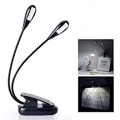 RioRand 4 LED Light Portable Clip Light clip desk lamp 4 Brightness Adjustable-Best Suited For Music Stands, Reading, BBQ, Grilling, Desk & Travel