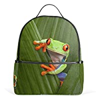 Funnyy Kids Backpack Cute Animal Frog Leaves School Shoulder Bag for Girls Boys Child Teen